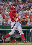 6 August 2016: Washington Nationals starting pitcher Stephen Strasburg connects for a double to lead off the bottom of the 3rd inning against the San Francisco Giants at Nationals Park in Washington, DC. The Giants defeated the Nationals 7-1 to even their series at one game apiece. Mandatory Credit: Ed Wolfstein Photo *** RAW (NEF) Image File Available ***