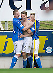 St Johnstone v Aberdeen...23.08.14  SPFL<br /> Birthday boy Steven MacLean celebrates nhis goal with Brian Easton and David Wotherspoon<br /> Picture by Graeme Hart.<br /> Copyright Perthshire Picture Agency<br /> Tel: 01738 623350  Mobile: 07990 594431