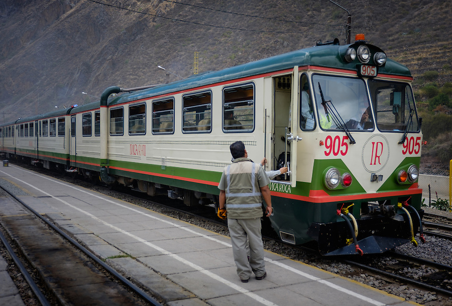 OLLANTAYTAMBO, PERU - CIRCA OCTOBER 2015:  Train of the Inca Rail at the Ollantaytambo station in sacred Valley ready to depart to Ciudad Machu Picchu