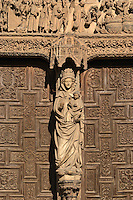 detail, holy mary, Santa Maria de Regla cathedral details on entrance Plaza de Regla, Leon spain castile and leon