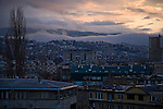 Late-winter sunset over the Grbavica neighborhood of Sarajevo.