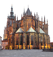 Apse, choir and flying buttresses of St Vitus cathedral, a Gothic Roman catholic cathedral founded 1344, within Prague Castle, Prague, Czech Republic. The cathedral has a triple nave, a short transept and a five-bayed choir and decagon apse with ambulatory and radiating chapels, seen here. The cathedral's full name is the St Vitus, St Wenceslas and St Adalbert cathedral and is the largest church in the Czech Republic. The historic centre of Prague was declared a UNESCO World Heritage Site in 1992. Picture by Manuel Cohen