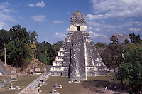 Temple I or Temple of the Grand Jaguar and the Great Plaza at the Mayan ruins of Tikal, Guatemala