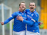 St Johnstone v Partick Thistle...29.03.14    SPFL<br /> Stevie May celebrates his goal with Dave Mackay<br /> Picture by Graeme Hart.<br /> Copyright Perthshire Picture Agency<br /> Tel: 01738 623350  Mobile: 07990 594431