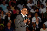 "Powder Springs, GA - July 8, 2008:  US Senator and Democratic Presidential candidate Barack Obama speaking at McEachern High School in Powder Springs, Georgia on July 8, 2008. Obama held a ""town hall meeting"" on the economy. He spoke in front of a crowd of more than 1500 people. It was Obama's first visit to Georgia since he became the Democratic party nominee."