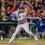 14 October 2016: Los Angeles Dodgers third baseman Justin Turner in action during the NLDS Game 5 against the Washington Nationals at Nationals Park in Washington, DC. The Dodgers edged out the Nationals 4-3, to take Game 5, and the Series, 3 games to 2, moving on to the National League Championship against the Chicago Cubs. Mandatory Credit: Ed Wolfstein Photo *** RAW (NEF) Image File Available ***