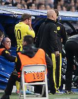 FUSSBALL  CHAMPIONS LEAGUE  HALBFINALE  RUECKSPIEL  2012/2013      Real Madrid - Borussia Dortmund                   30.04.2013 Musste verletzt ausgewechselt werden: Mario Goetze (Borussia Dortmund)