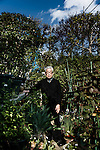 Tokyo, April 14 2014 - Portrait of Kenzaburo Oe in his garden.