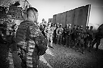 US troops from 1-38 Infantry in Panjwayi, Kandahar, prepare to go on a joint operation with Afghan Local Police, 20 April 2013. (John D McHugh)