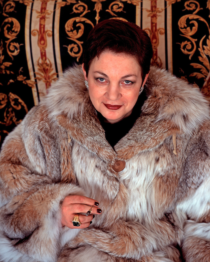Moscow, Russia, 1997..Fur dealer Yelena Yermak.