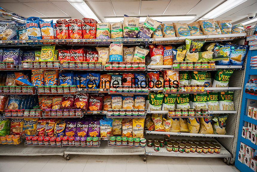 A display of tasty snacks are seen in a supermarket in New York on Thursday, December 8, 2016.  (© Richard B. Levine)