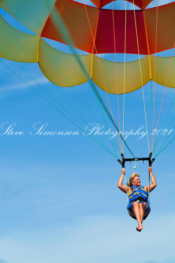 Parasailing around St Thomas.U. S. Virgin Islands