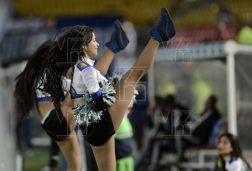 BOGOTÁ -COLOMBIA, 02-11-2014. Animadoras de Millonarios realizan un performance en el entretiempo del encuentro entre Millonarios y Uniautónoma por la fecha 17 de la Liga Postobón II 2014 jugado en el estadio Nemesio Camacho El Campín de la ciudad de Bogotá./ Cheerleaders of Millonarios make a performance during the halftime of the match between Millonarios and Uniautonoma for the 17th date of the Postobon League II 2014 played at Nemesio Camacho El Campin stadium in Bogotá city. Photo: VizzorImage/ Gabriel Aponte / Staff