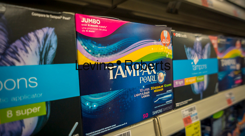 Packages of Tampax brand tampons on a drugstore shelf in New York on Wednesday, February 10, 2016. A bill making its way through the Utah legislature would eliminate tax on tampons and other feminine hygiene products. 40 states currently impose a sales tax on feminine hygiene products and there is also a bill under consideration in California to eliminate the tax.  (© Richard B. Levine)