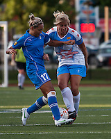2Boston Breakers forward Kyah Simon (17) tackles Chicago Red Stars defender Lauren Fowlkes (9).  The Boston Breakers beat the Chicago Red Stars 1-0 at Dilboy Stadium.