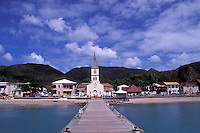 Pier leading towards church, les Anses d'Arlets, Martinique, Caribbean