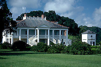 The exterior of the Evergreen plantation house and lawn. Vacherie, Louisiana.