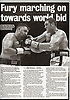 """Fury marching on..."".Tyson Fury vs Nicolai Firtha. Sunday Express 18/09/11"