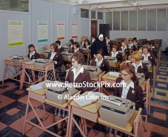 Saint John Villa Academy, NY. Typing classroom with teenage girls & a nun