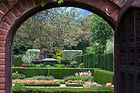 View through gate and entry into the sunken garden at Filoli Estate, California