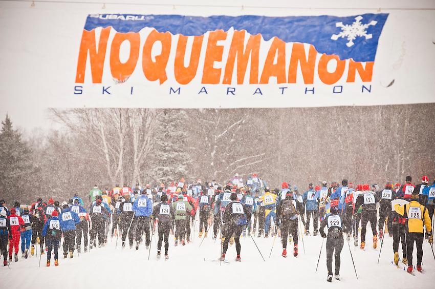 Scene from the start of the Noquemanon Ski Marathon Nordic cross country ski race from Ishpeming Michigan to Marquette Michigan.