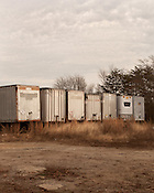 December 20, 2012. Raleigh, North Carolina.. Storage units in semi trailers along S. Wilmington Street...