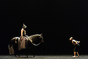 London, UK. 13.03.2016. Equestrian theatre artist, Bartabas, returns to the Sadler's Wells stage accompanied by contemporary flamenco dancer Andrés Marín, four horses and a donkey, to present the UK Premiere of Golgota from Monday 14 – Monday 21 March. Photograph © Jane Hobson.