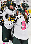 29 January 2012: University of Vermont Catamounts celebrate scoring against the University of New Hampshire Wildcats at Gutterson Fieldhouse in Burlington, Vermont. The Lady Cats, dressed in their Breast Cancer Awareness jerseys, edged out the Wildcats 2-1 to split their Hockey East twin-game weekend series. Mandatory Credit: Ed Wolfstein Photo