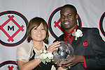11 January 2008:  Mami Yamaguchi (Japan) (l) of Florida State and O'Brian White (r) of the University of Connecticut hold the 2007 Hermann Trophy.....The 2007 Hermann Trophy was presented to the NCAA Division I female and male players of the year by the Missouri Athletic Club in St. Louis, Missouri.