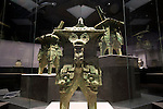 Photo shows Three-headed He with Taotie Design, a set of three bronze works  that dates back to China's Shang Dynasty and around the 13th-12th century BC on display at the Nezu Museum of Art in, Tokyo, Japan on 17 Sept. 2012. The  museum was  first conceptualized by pre-war industrialist Kachiro Nezu, who wanted to find a place to display and store his collection of ancient Asian artworks.  Photographer: Robert Gilhooly