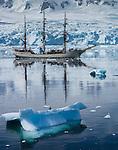Europa three-master sailboat amongst ice floats, Antarctica