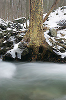 Winter river near the Blue Ridge Parkway and the Shenandoah National Park.