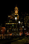 A view of downtown Boston, MA at night.