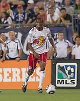 New York Red Bulls defender Roy Miller (7) at midfield. In a Major League Soccer (MLS) match, the New England Revolution tied New York Red Bulls, 2-2, at Gillette Stadium on August 20, 2011.