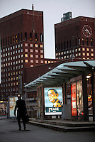 (Oslo, Norway. Dec 9, 2009) Poster of  US president Barack Obama on a tramstop, by  Oslo Town Hall, where he will receive Nobel Peace Prize on Dec 10 2009. The poster actually refers to an exhibition at the Nobel Peace Center next to the town Hall.