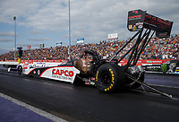 Apr 22, 2017; Baytown, TX, USA; NHRA top fuel driver Steve Torrence during qualifying for the Springnationals at Royal Purple Raceway. Mandatory Credit: Mark J. Rebilas-USA TODAY Sports