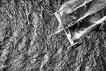 Aerial photo shoot of l'Hydropt&egrave;re DCNS, Alain Th&eacute;bault and his crew (Yves Parlier, Jean le Cam, Jacques Vincent, Luc Alphand)  during the first series of trials on the Med before trying to beat the Pacific crossing record between Los Angeles and Honolulu next summer. La Ciotat in the Bouches-du-Rh&ocirc;ne, Provence-Alpes-C&ocirc;te d'Azur, France. ( http://hydroptere.com/news/466/98/Cordee-de-legende/ )