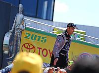 Jun 7, 2015; Englishtown, NJ, USA; NHRA top fuel driver Larry Dixon during the Summernationals at Old Bridge Township Raceway Park. Mandatory Credit: Mark J. Rebilas-