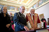 Pope Benedict XVI, and Malta President Edward Fenech-Adami  on the occasion of their private audience at the Vatican, Saturday, March 14, 2009