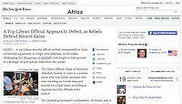 Tearsheet of &quot;Libya War&quot; (photo only) published in New York Times