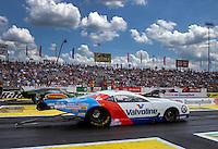 Jun. 2, 2013; Englishtown, NJ, USA: NHRA pro mod driver Mike Janis (near) races alongside Chip King during the Summer Nationals at Raceway Park. Mandatory Credit: Mark J. Rebilas-