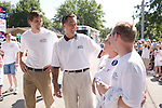 Mitt Romney, former Governor of Massachusetts, and potential Republican candidate for President, campaigning at the Fourth of July Parade in Clear Lake, Iowa. Iowa, April 7, 2007.