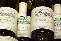 pile of bottles maranges 1er cru 2004 la fussiere dom e monnot & f santenay cote de beaune burgundy france