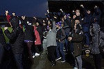 City of Liverpool 6 Holker Old Boys 1, 10/12/2016. Delta Taxis Stadium, North West Counties League Division One. Home supporters celebrating their team's fourth goal at the Delta Taxis Stadium, Bootle, Merseyside as City of Liverpool hosted Holker Old Boys in a North West Counties League division one match. Founded in 2015, and aiming to be the premier non-League club in Liverpool, City were admitted to the League at the start of the 2016-17 season and were using Bootle FC's ground for home matches. A 6-1 victory over their visitors took 'the Purps' to the top of the division, in a match watched by 483 spectators. Photo by Colin McPherson.