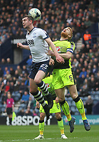 Preston North End's Paul Huntington jumps with Reading's Paul McShane<br /> <br /> Photographer Mick Walker/CameraSport<br /> <br /> The EFL Sky Bet Championship - Preston North End v Reading - Saturday 11th March 2017 - Deepdale - Preston<br /> <br /> World Copyright &copy; 2017 CameraSport. All rights reserved. 43 Linden Ave. Countesthorpe. Leicester. England. LE8 5PG - Tel: +44 (0) 116 277 4147 - admin@camerasport.com - www.camerasport.com