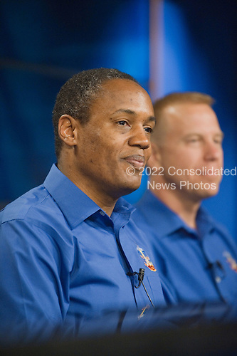 National Aeronautics and Space Administration (NASA) astronaut Alvin Drew, STS-133 mission specialist, fields a question from a reporter during an STS-132 preflight press conference at NASA's Johnson Space Center in Houston, Texas on Thursday, October 21, 2010.  Astronaut Tim Kopra, mission specialist, is visible in the background.  STS-133, aboard the Space Shuttle Discovery, is scheduled for launch Monday, November 1, 2010 at 4:40 p.m. EDT..Mandatory Credit: James Blair / NASA via CNP.