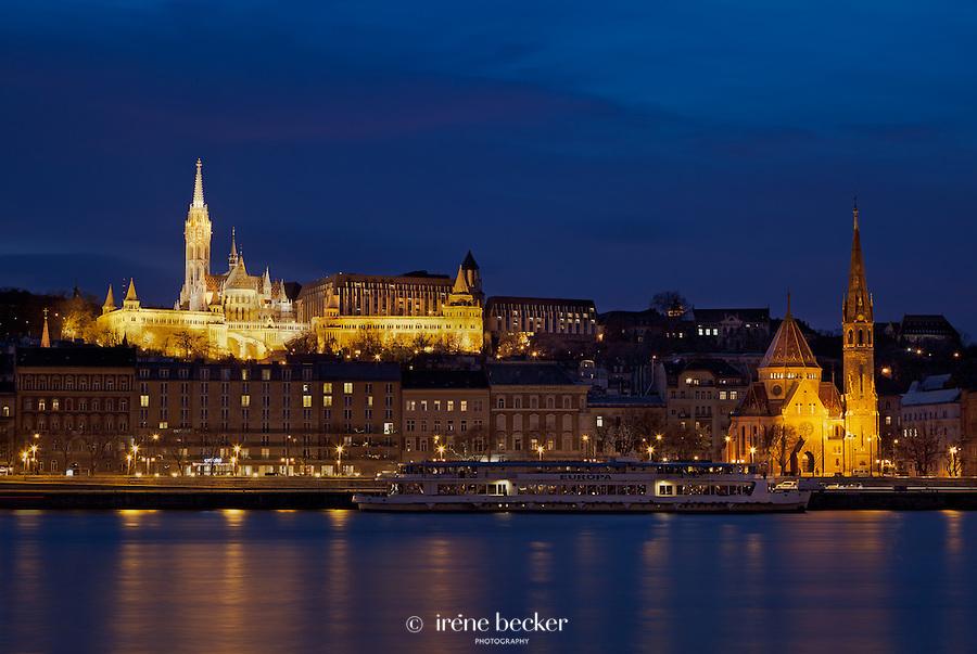 Fisherman's Bastion, St. Matthias church and Budai Reformatus night view, Budapest, Hungary