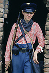 Private Jayson Taylor, portrays a young soldier with the Union's 165th New York Zovaves poses during the re-enactment of the Battle of Fort Morgan, Mobile, Al in 2001. Jim Bryant Photo. @2001. All Rights Reserved