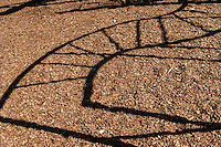 The sun uses the curves of playground equipment to draw an abstract picture in afternoon shadow.