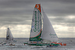 Groupama and Oman Air at the start Route du Rhum La Banque Postale 2010..The Route du Rhum is a transatlantic single-handed yacht race, which takes places every 4 years in November. The course is between Saint Malo, Brittany, France and Pointe-à-Pitre, Guadeloupe.